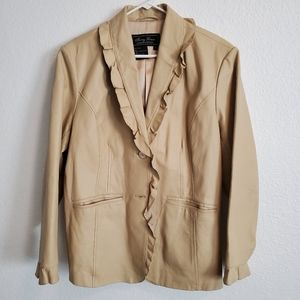 Terry Lewis Vintage Leather Ruffle Camel Jacket
